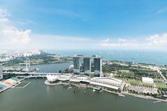 Satellietbeeld van commerciële van Singapore district en stad bij middag in Singapore, Azië royalty-vrije stock afbeeldingen