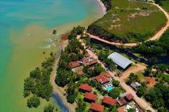 Satellietbeeld van Cumuruxatiba-strand, Prado, Bahia, Brazilië royalty-vrije stock foto's