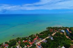 Satellietbeeld van Cumuruxatiba-strand, Prado, Bahia, Brazilië royalty-vrije stock afbeelding