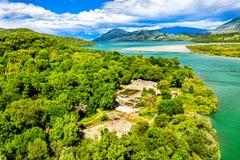 Satellietbeeld van de archeologische plaats van Butrint in Albanië royalty-vrije stock afbeeldingen