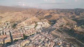 Satellietbeeld van de het oude kasteel en bergen van Alcazaba in Almeria, Spanje stock foto's