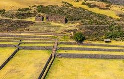 Satellietbeeld van de Inca-ruïne van Tipon, Cusco, Peru stock foto