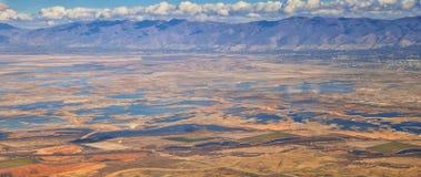 Satellietbeeld van de landschappen van Wasatch Front Rocky Mountain op vlucht over Colorado en Utah tijdens de winter Het grote v stock foto