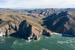 Satellietbeeld van de Noordelijke Ruwe Kustlijn van Californië stock fotografie