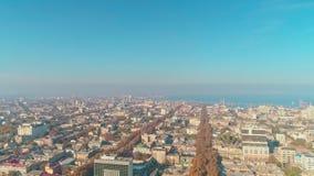 Satellietbeeld van de de oude stad en zeehaven van Odessa Downtown stock footage