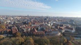 Satellietbeeld van de oude stad van Halle Saale stock video