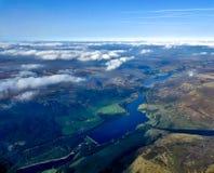 Satellietbeeld van de reservoirs van Rhodeswood, van Torside en Woodhead-, stock afbeeldingen