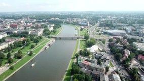 Satellietbeeld van de rivier van Krakau stock footage
