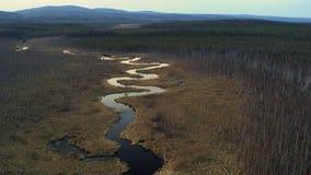 Satellietbeeld van de rivier in de vorm van een slang op het gebied stock videobeelden