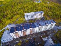 Satellietbeeld van de spookstad Kadykchan, Kolyma, Magadan-gebied royalty-vrije stock fotografie