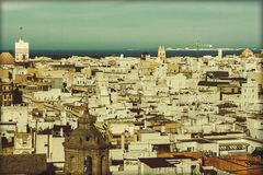 Satellietbeeld van de stad van Cadiz stock afbeeldingen
