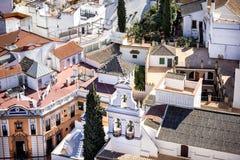 Satellietbeeld van de stad van Sevilla van de Giralda-Kathedraaltoren, Sevilla Sevilla, Andalusia, Zuidelijk Spanje royalty-vrije stock foto