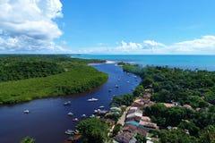 Satellietbeeld van de stranden van CaraÃva & Corumbau-, Porto Seguro, Bahia, Brazilië royalty-vrije stock foto