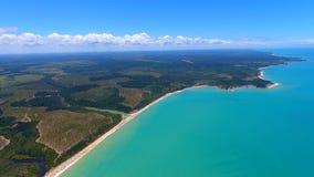 Satellietbeeld van de stranden van CaraÃva & Corumbau-, Porto Seguro, Bahia, Brazilië stock foto