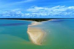 Satellietbeeld van de stranden van CaraÃva & Corumbau-, Porto Seguro, Bahia, Brazilië royalty-vrije stock afbeeldingen