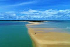 Satellietbeeld van de stranden van CaraÃva & Corumbau-, Porto Seguro, Bahia, Brazilië stock foto's