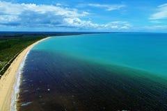 Satellietbeeld van de stranden van CaraÃva & Corumbau-, Porto Seguro, Bahia, Brazilië royalty-vrije stock afbeelding