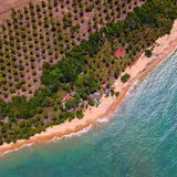 Satellietbeeld van de stranden van CaraÃva & Corumbau-, Porto Seguro, Bahia, Brazilië stock fotografie