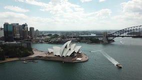 Satellietbeeld van de toeristische vlekken van Sydney Het toerisme van Australië stock footage