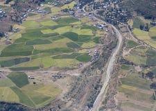 Satellietbeeld van dorpen, landbouwbedrijven, in landelijk Ethiopië stock foto