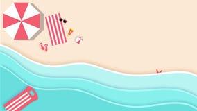 Satellietbeeld van een mooi die strand in de zomer, in 4K grafische video wordt geanimeerd stock illustratie