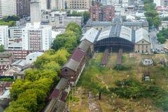 Satellietbeeld van een vroeger station in Montevideo stock afbeelding