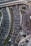 Satellietbeeld van een wegsysteem in Doubai stock fotografie