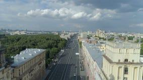 Satellietbeeld van Gagarin-Vierkant op een zonnige de zomerdag in Moskou stock videobeelden