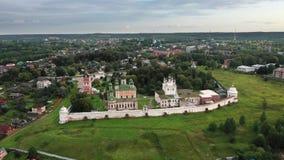 Satellietbeeld van Goritsky-Klooster in pereslavl-Zalessky stock videobeelden