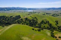 Satellietbeeld van Groene Heuvels in tri-Vallei, Noordelijk Californië royalty-vrije stock afbeelding