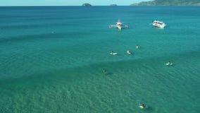 Satellietbeeld van groep surfers die op golven dichtbij oceaanstrand wachten Beginnerssurfboarders die leren hoe te berijden zwel stock video
