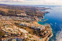 Satellietbeeld van het Amadores-strand op het Gran Canaria-eiland in Spanje stock fotografie