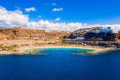 Satellietbeeld van het Amadores-strand op het Gran Canaria-eiland in Spanje royalty-vrije stock afbeelding