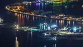 Satellietbeeld van het Eilandnacht van Palmjumeirah timelapse stock footage