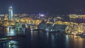 Satellietbeeld van het Eilandnacht van Palmjumeirah timelapse stock video