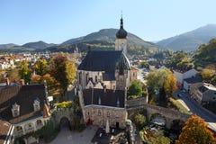 Satellietbeeld van het historische stadscentrum Waidhofen een der Ybbs, Lager Oostenrijk stock foto's
