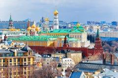 Satellietbeeld van het Kremlin van de stad Rusland van Moskou in de ochtend royalty-vrije stock foto's