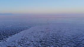 Satellietbeeld van het landschap van het de winterijs op meer Baikal stock footage