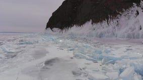 Satellietbeeld van het landschap van het de winterijs op meer Baikal stock video