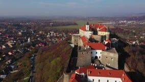 Satellietbeeld van het middeleeuwse kasteel Palanok, Mukachevo, Transcarpathië, de Oekraïne