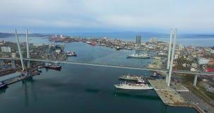 Satellietbeeld van het stedelijke landschap dat de Russische brug overziet stock footage
