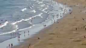 Satellietbeeld van het strand 'del Inglés ', Canarische Eilanden Hypertijdspanne stock video