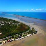 Satellietbeeld van het strand van Porto Seguro, Bahia, Brazilië stock afbeeldingen
