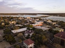 Satellietbeeld van historisch district van Beaufort, Zuid-Carolina bij stock fotografie