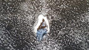 Satellietbeeld van hommel van een klein eiland in smeltend ijsmeer royalty-vrije stock afbeeldingen
