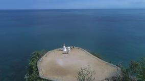 Satellietbeeld van hommel van huwelijkspaar bij de klip stock footage