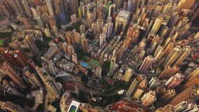 Satellietbeeld van Hong Kong Downtown, Republiek China Financi?le districts en commerci?le centra in slimme stad in Azi? Hoogste  royalty-vrije stock foto