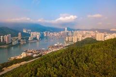 Satellietbeeld van Hong Kong Downtown, Republiek China Financi?le districts en commerci?le centra in slimme stad in Azi? Hoogste  royalty-vrije stock afbeeldingen