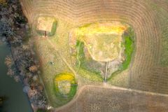 Satellietbeeld van Indische de Hopen Historische Plaats van Etowah in Cartersville Georgië royalty-vrije stock foto