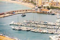 Satellietbeeld van Javea-haven in Spanje royalty-vrije stock fotografie
